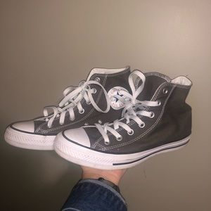 Grey and White High Top Converse